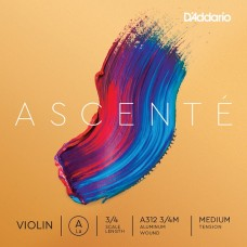 D'ADDARIO ASCENTÉ VIOLIN SINGLE A STRING 3/4 Scale Medium Tension Струна Ля для скрипки (A312 3/4M)