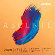 D'ADDARIO ASCENTÉ VIOLIN SINGLE E STRING 3/4 Scale Medium Tension Струна Ми для скрипки (A311 3/4M)